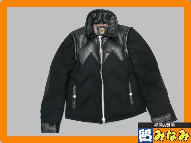 SCHOTT ダウンジャケット レザーxウール サイズM ブラック