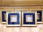 木製額縁 4寸角 5個セット ガラス付 紺色…