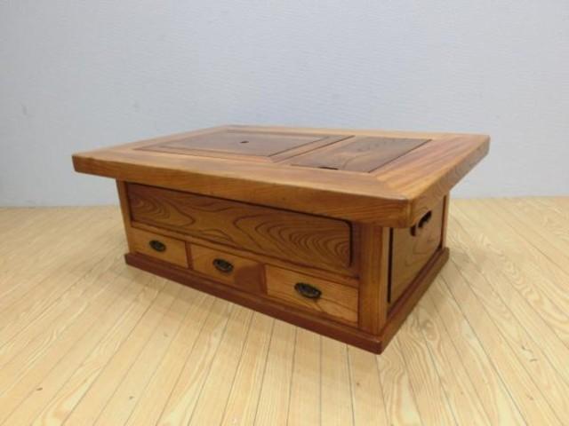 無垢欅材 長火鉢 囲炉裏 座卓 ローテーブル