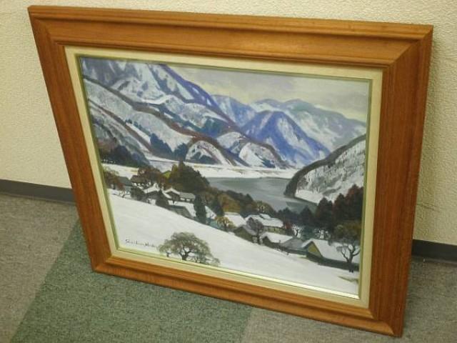 絵画 油彩 風景画 塗師祥一郎 「待春の山湖」 F10号