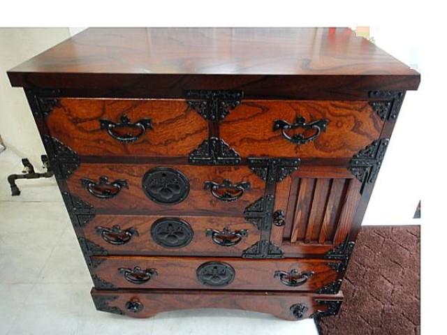 伝統工芸 岩谷堂 和箪笥 欅材 茶箪笥 南部鉄器