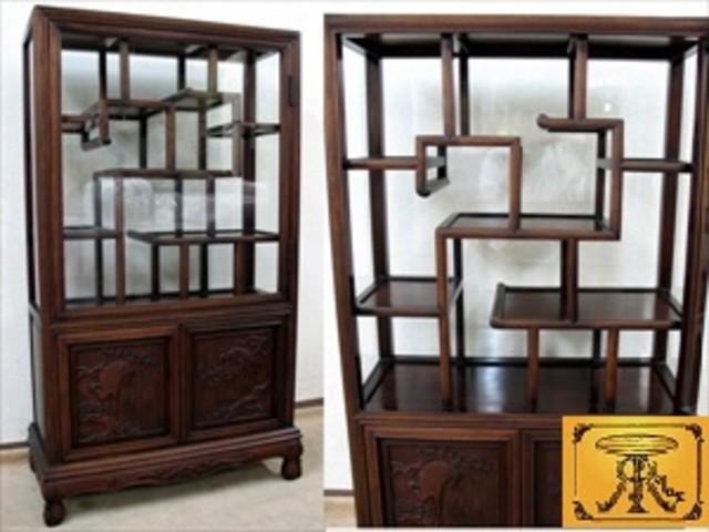 神戸市西区で唐木の珍しいガラス扉の飾り棚 (茶棚)