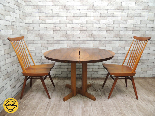 ジョージナカシマ 桜製作所 ラウンドテーブル&ニューチェア2脚