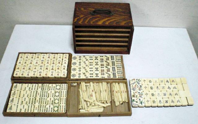 時代物 麻雀牌 骨素材 卓上ゲーム マージャン パイ 木工芸 木製箱
