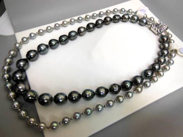 真珠 パール ネックレス バロック 黒真珠