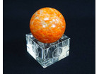 天然石 オレンジカルサイト 丸玉 置物 台付…