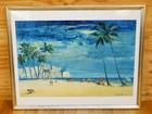 絵画油絵 「東南アジア海岸」 サイン有り 額…