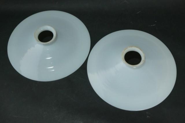レトロ 乳白硝子 ミルクガラス 平電笠 シェード 2点