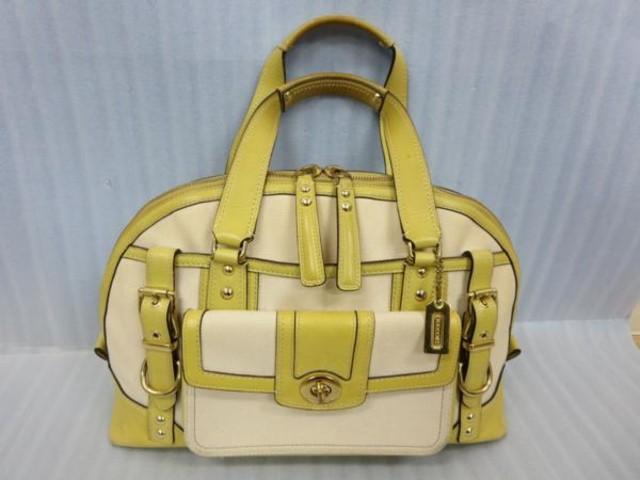 COACH ハンドバッグ シグネチャー 黄緑 キャンバス 布