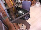 ニトリ製 ブラックガラス天板 PCデスク