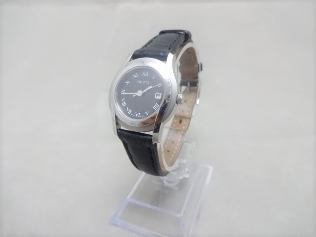 グッチ 5500L レディース腕時計 クロコ型押しベルト