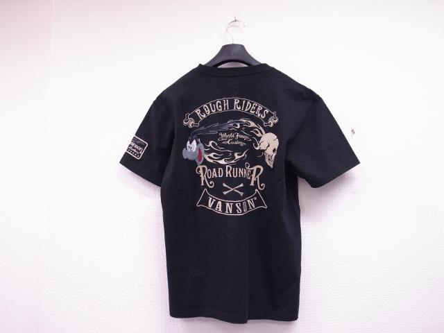 VANSON×LOONEY TUNES ロードランナー×スカル刺繍Tシャツ