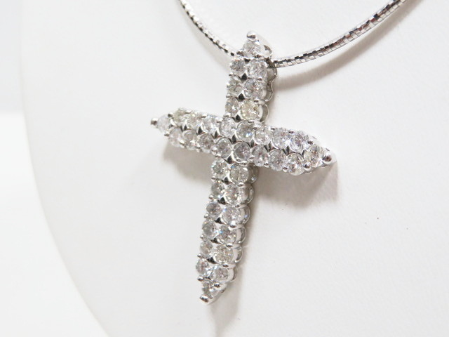 K18WG/Pt900 ホワイトゴールド/プラチナ ダイヤモンド クロスネックレス 5.03ct